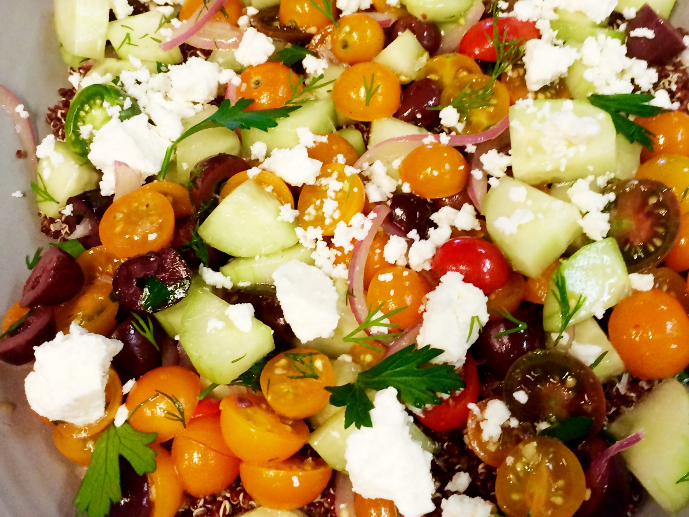 Quinoa Greek salad at Stay Golden restaurant and roastery.