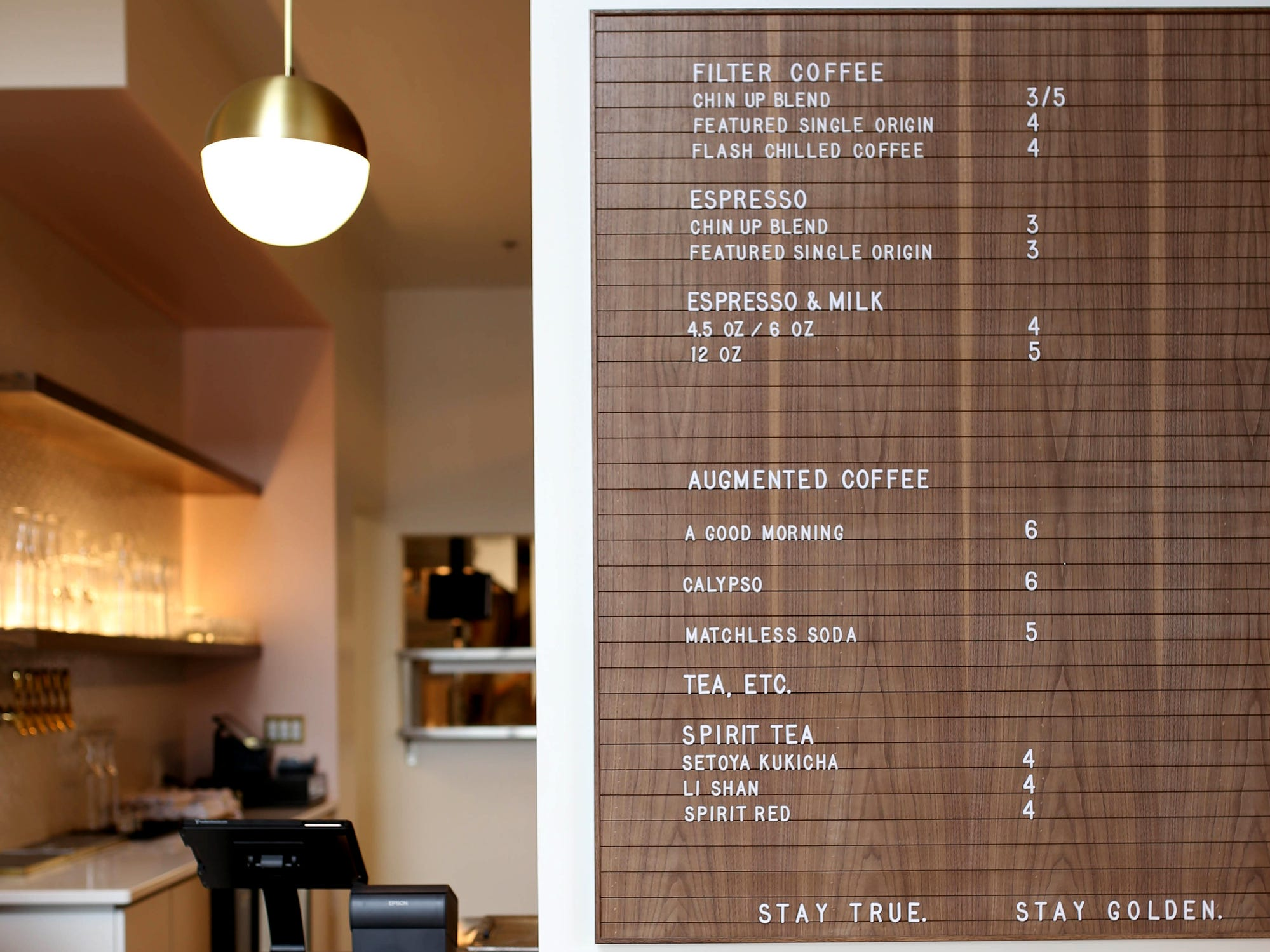 The drink menu at Stay Golden restaurant and roastery.