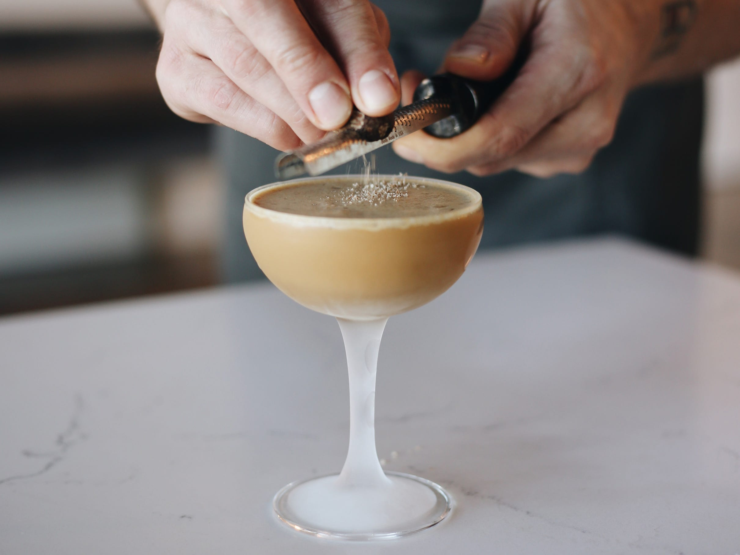 A Better Morning cocktail, with Early Times bonded bourbon, rested espresso, corn milk and warming spices at Stay Golden restaurant and roastery.