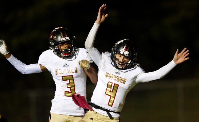 Ravenwood's Brian Garcia (4) celebrates  scoring a touchdown with Evan Coleman (3) during their game against Independence Friday, Oct. 26, 2018, in Thompsons Station, Tenn.