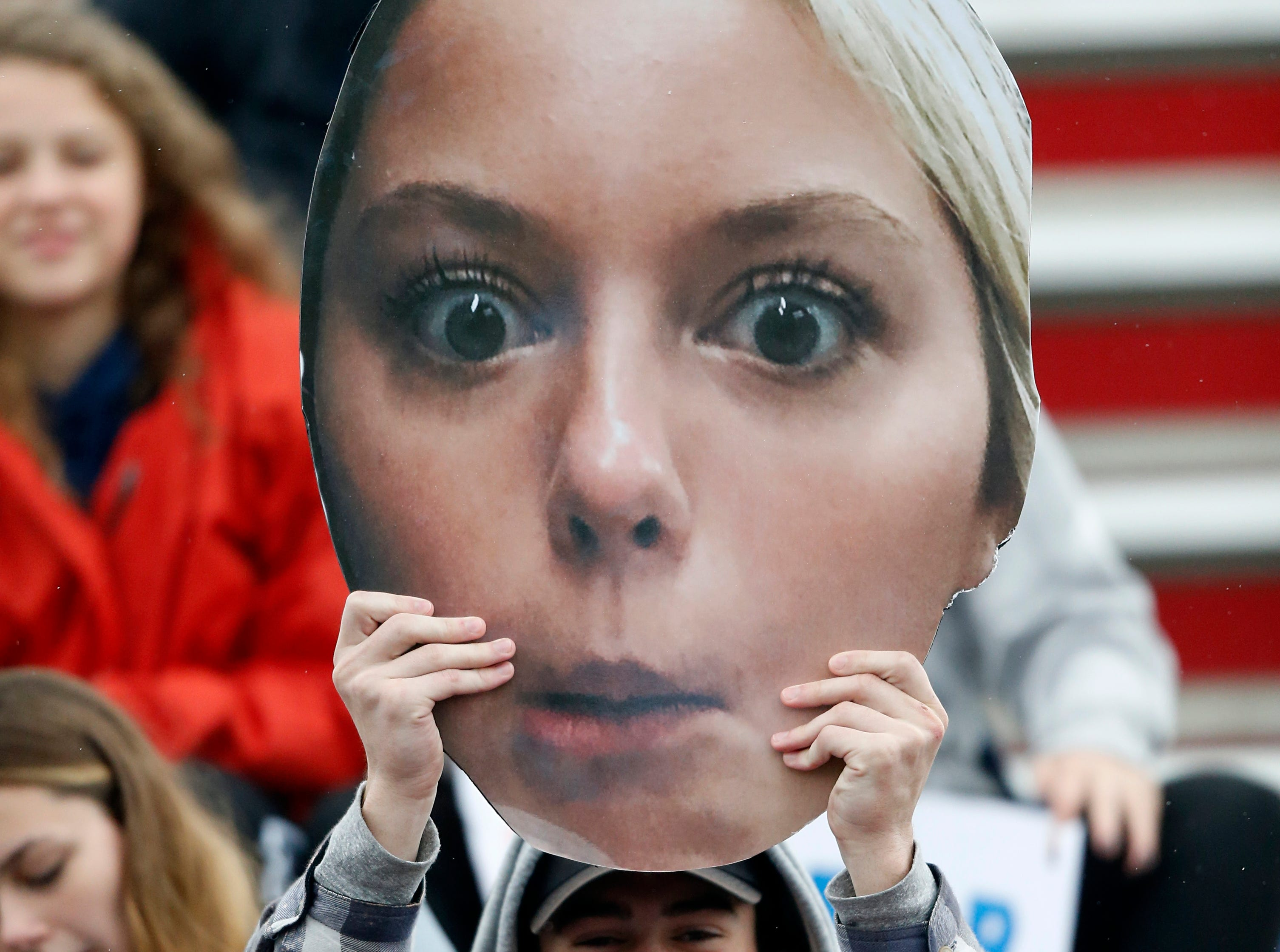 A Beech fan holds up a likeness of a player during their Class AA soccer championship match against Seymour Saturday, Oct. 27, 2018, in Murfreesboro, Tenn.