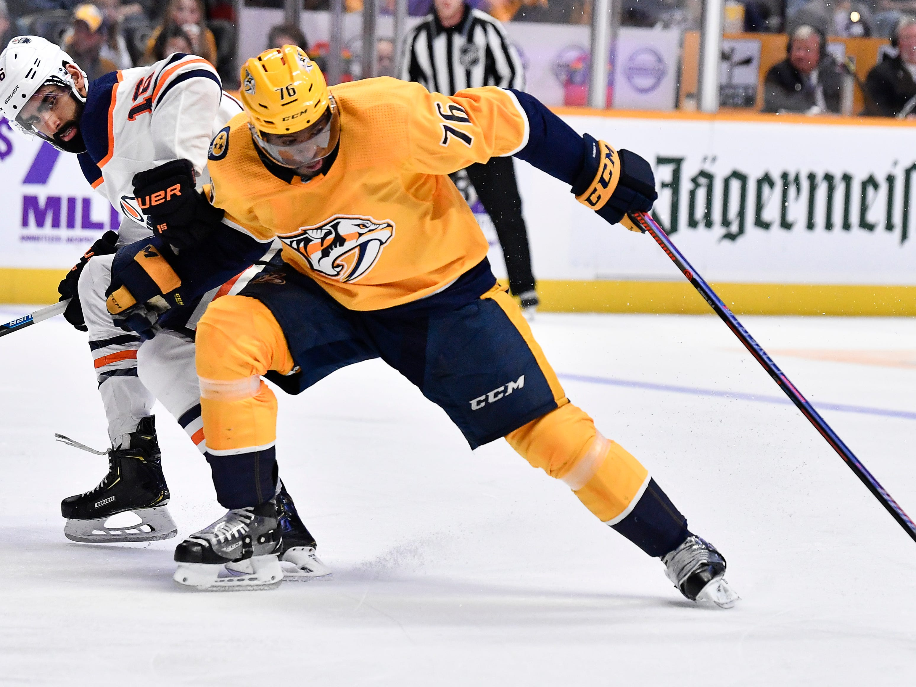 Predators defenseman P.K. Subban (76) attacks the goal past Oilers left wing Jujhar Khaira (16) during the first period at Bridgestone Arena Saturday, Oct. 27, 2018, in Nashville, Tenn.