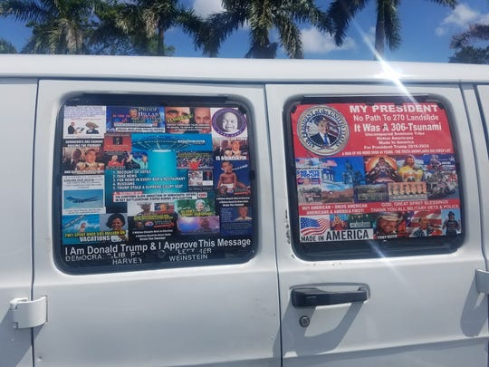 Cesar Sayoc, accused in mail bombing case, drove van covered with stickers supporting President Donald Trump.