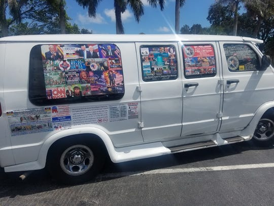Cesar Sayoc's van, covered in political stickers supporting Donald Trump and opposing the president's critics.