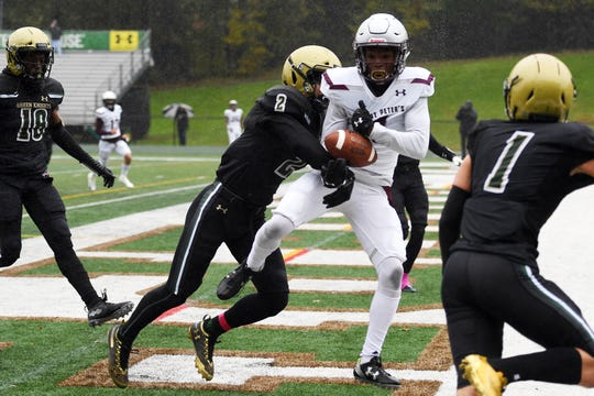 St. Peter's Prep football at St. Joe's on Saturday, October 27, 2018. SP #1 Ayir Asante makes a catch in the end zone in the second quarter. A holding penalty was called on St. Peter's Prep.
