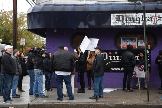 A protest outside Dingbatz, a club in Clifton, on Saturday October 27, 2018.
