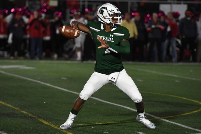 Bergen Catholic football at DePaul on Friday, October 26, 2018.  DP QB #1 Ta'Quan Roberson in the first quarter.