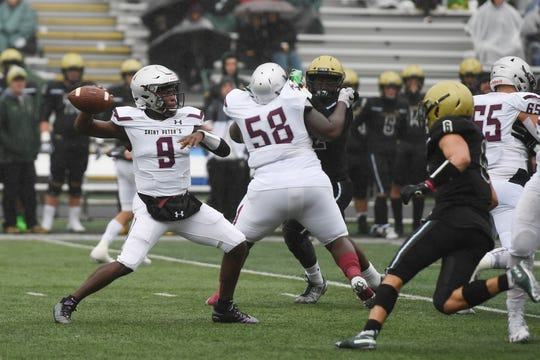 St. Peter's Prep football at St. Joe's on Saturday, October 27, 2018. SP QB #9 Maasai Maynor in the second quarter.