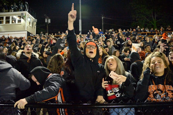 Hasbrouck Heights fans celebrate the win over Rutherford.