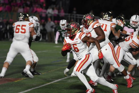 Bergen Catholic football at DePaul on Friday, October 26, 2018.  BC #6 Rahmir Johnson on his way to scoring a touchdown in the first quarter.
