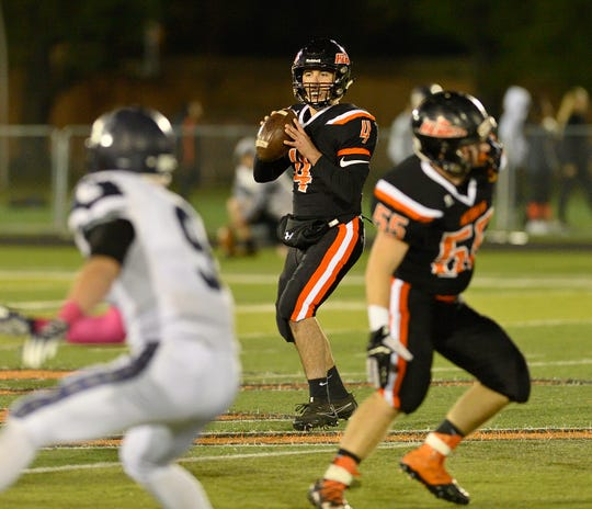 Hasbrouck Heights QB Spencer Lee looks to pass.