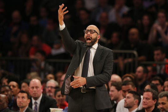 Oct 26, 2018; New York, NY, USA; New York Knicks head coach David Fizdale coaches against the Golden State Warriors during the second quarter at Madison Square Garden.