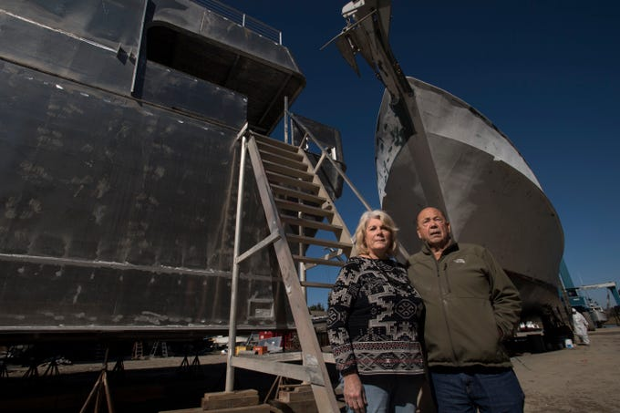 (right) John Yank, founder of Yank Marine, and his wife Bette Jean Yank at their shipyard in Tuckahoe on Thursday, October 25, 2018.