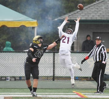 St. Peter's Prep football at St. Joe's on Saturday, October 27, 2018. SP #21 Zyeiar Miller reaches for a pass in the first quarter as SJ #47 Matthew Gibney defends.