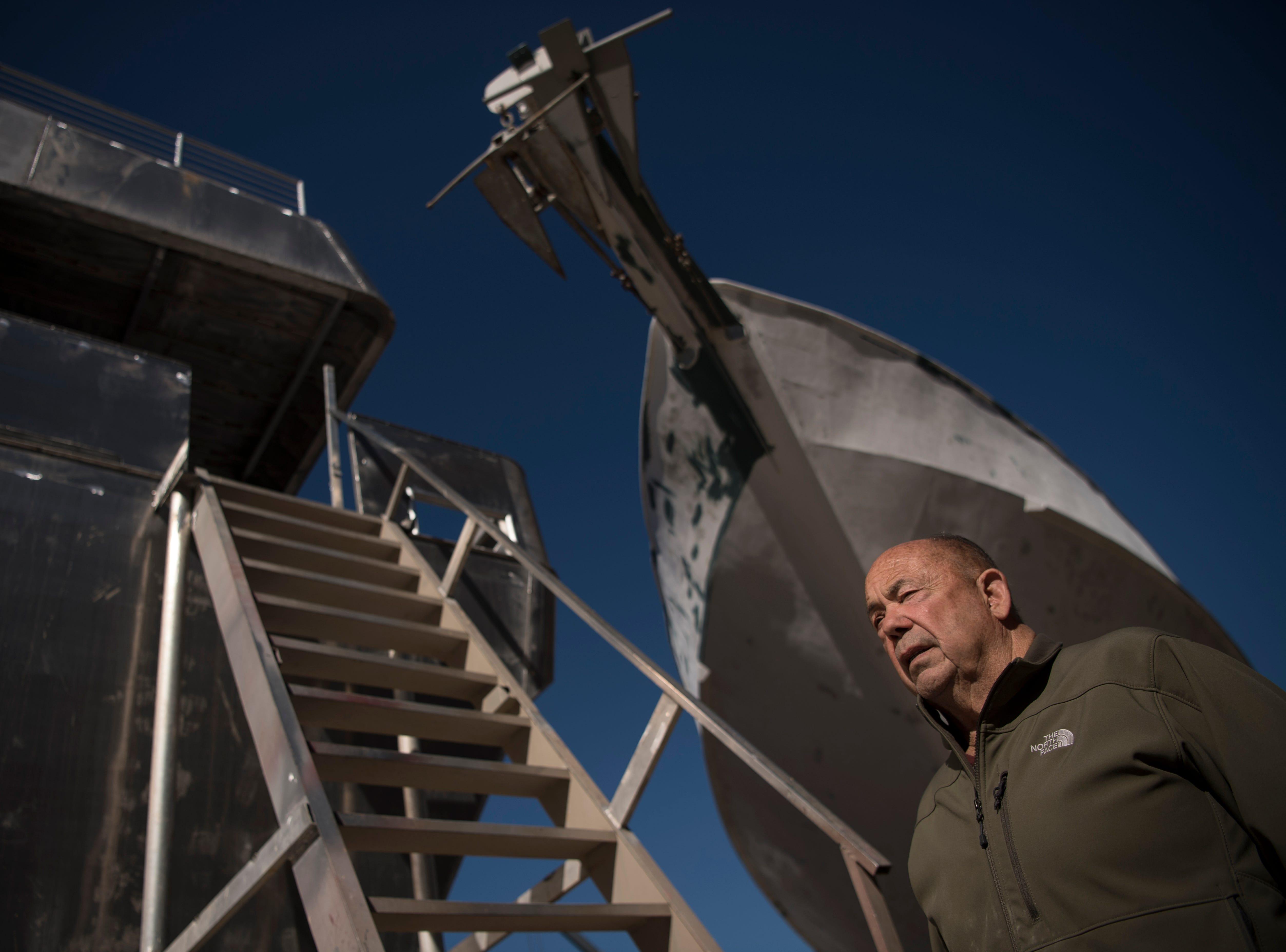 John Yank, founder of Yank Marine, at his shipyard in Tuckahoe on Thursday, October 25, 2018.