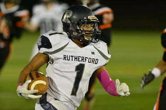 Rutherford's Abellany Mendez runs against Hasbrouck Heights.