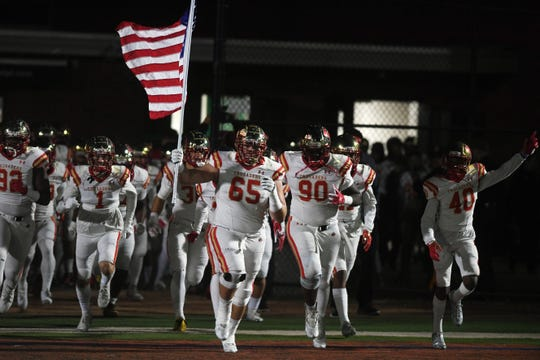 Bergen Catholic football at DePaul on Friday, October 26, 2018.  Bergen Catholic takes the field.
