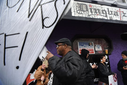 Daryle Lamont Jenkins attends a protest outside Dingbatz, a club in Clifton, on Saturday October 27, 2018.