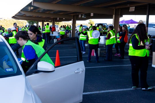 A army of student and medical professionals helped at the Boo To The Flu drive-in clinic held at MountainView Regional Medical Center on Saturday, October 27, 2018.