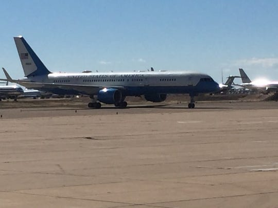 Air Force Two arrived in Roswell Friday afternoon as Vice President Mike Pence campaigned for New Mexico Republicans.