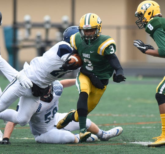 Farmington Harrison Roderick Heard (3) during Division 4 predistirct game against Cranbrook-Kingswood Oct. 27, 2018