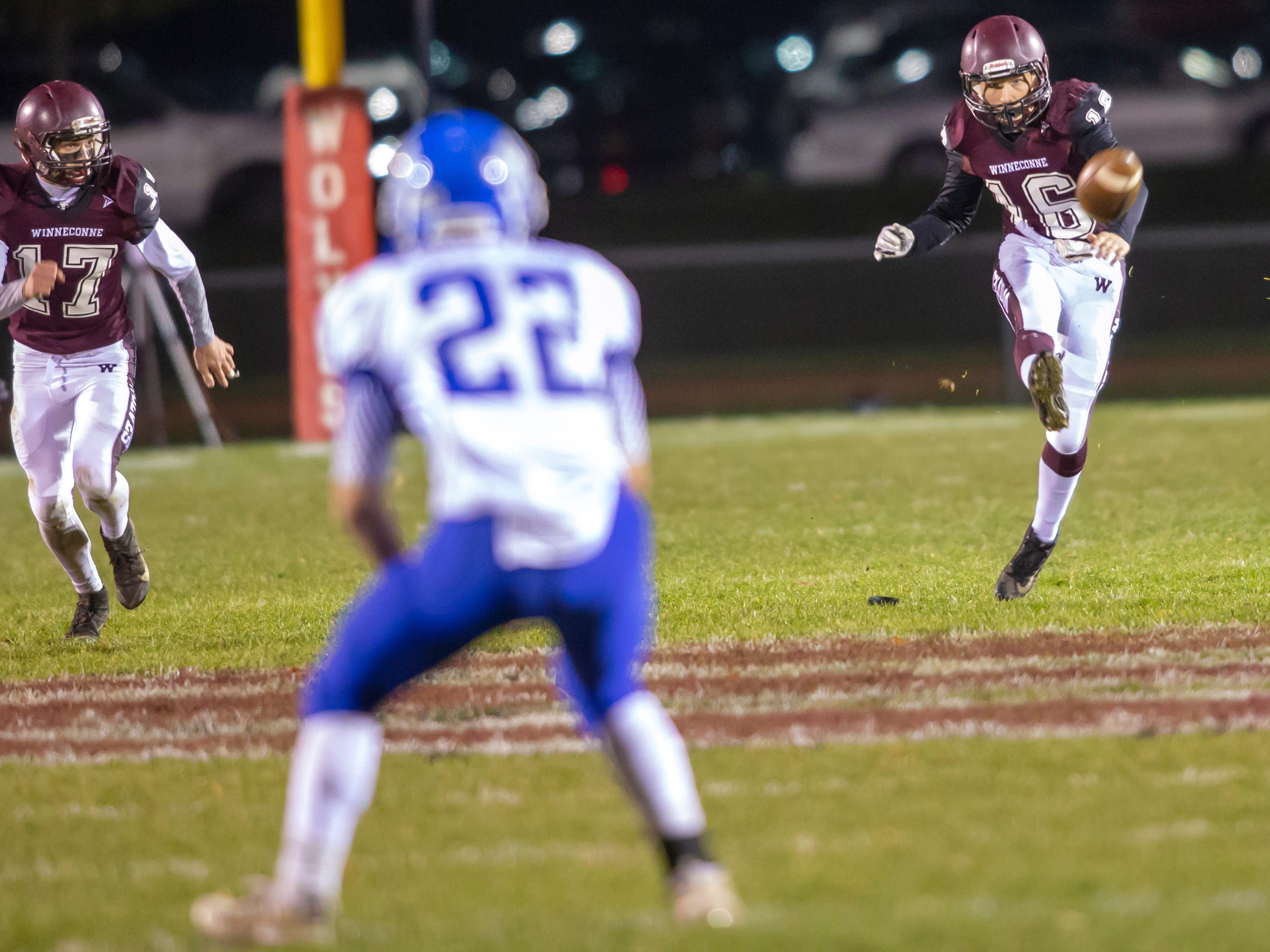 Winneconne's Evan Miller kicks off to Wrightstown at Winneconne High School on Friday, October 26, 2018.