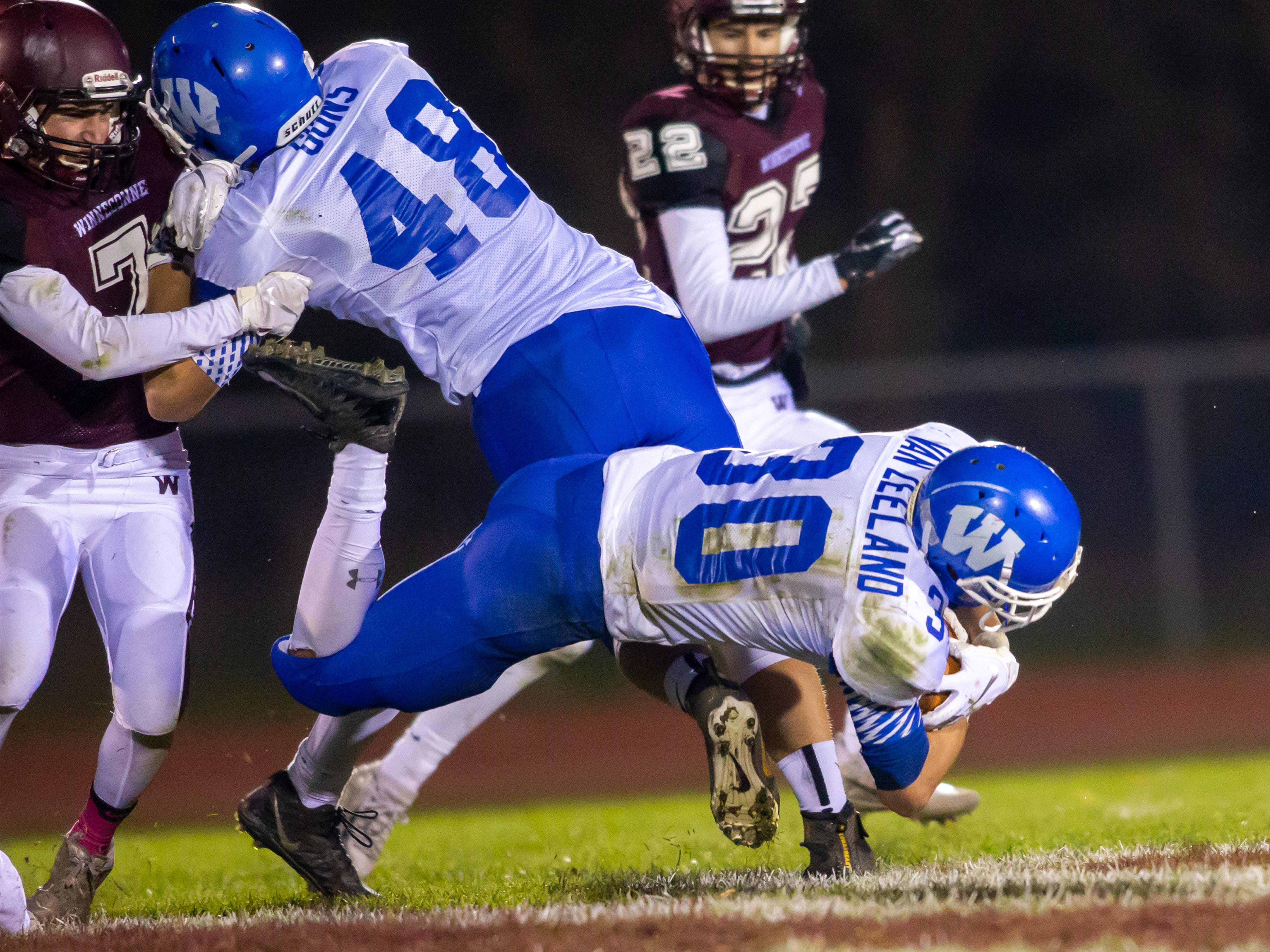 Wrightstown's Jeremy Van Zeeland drives the ball down the field playing against the Wolves at Winneconne High School on Friday, October 26, 2018.