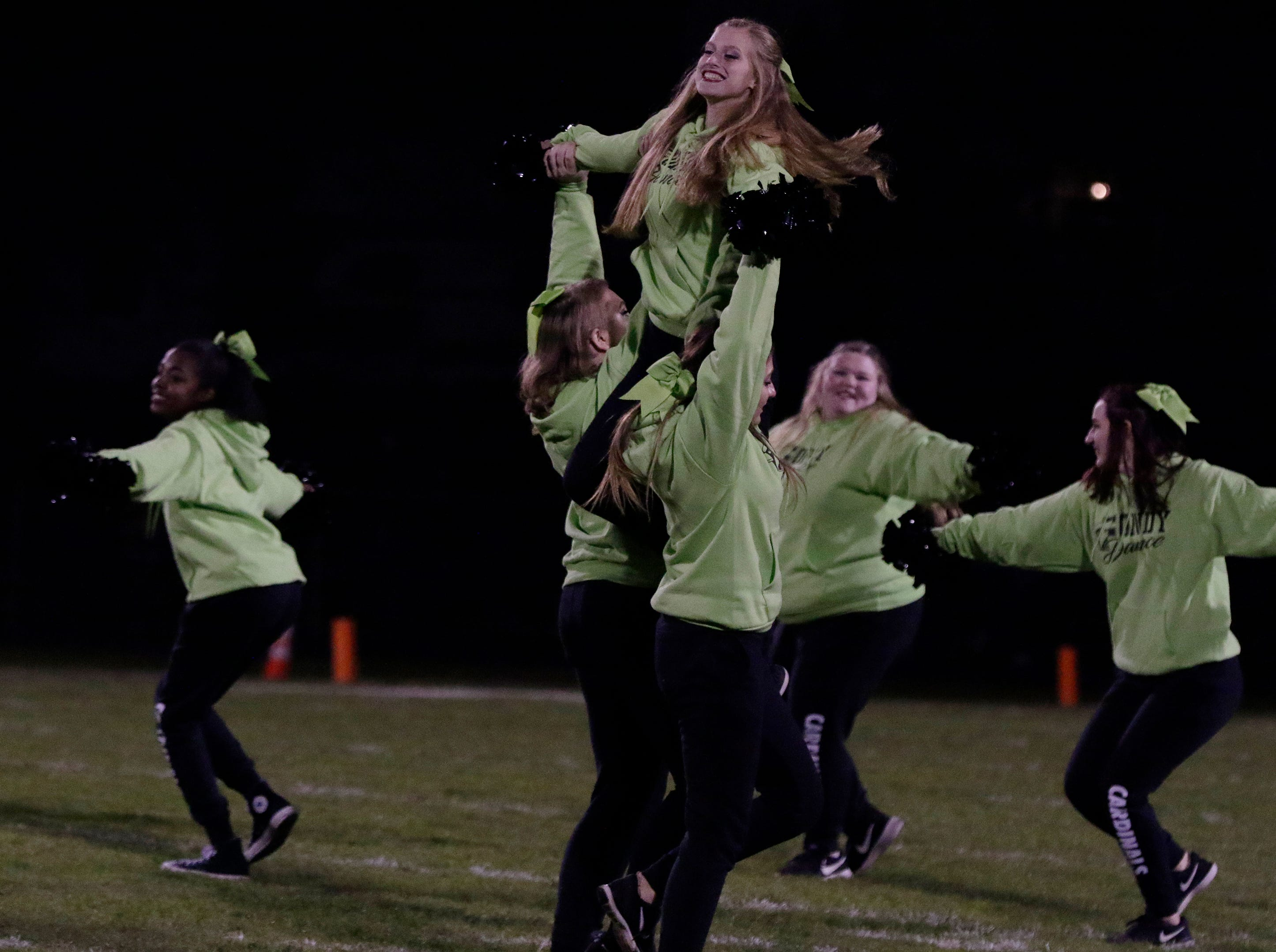 The Fond du Lac dance team performed at half time in honor of  St Mary's Springs junior Trent Schueffner #62 who died in a hunting accident.  The fans raised over $4000 for the family.  Fond du Lac Cardinals played Arrowhead Warhawks in WIAA football playoff sectionals, Friday, Oct. 26, 2018, at Fruth Field in Fond du Lac.Joe Sienkiewicz/USA Today NETWORK-Wisconsin