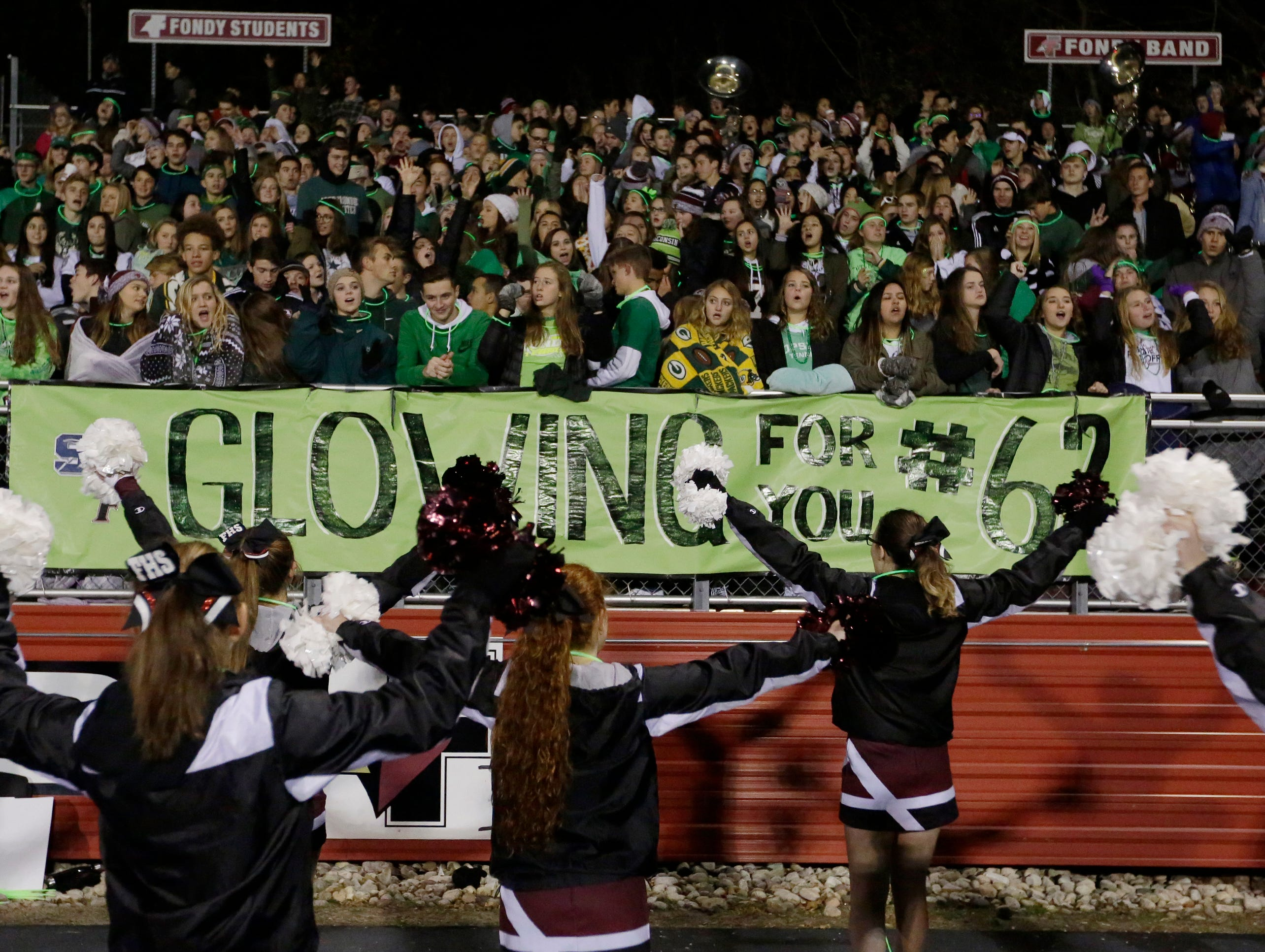 The theme for the game was Glowing for #62 the St. Mary's Springs junior Trent Schueffner #62 who died a hunting accident a week ago.  $4000 was raised for the family.  Fond du Lac Cardinals played Arrowhead Warhawks in WIAA football playoff sectionals, Friday, Oct. 26, 2018, at Fruth Field in Fond du Lac.  Fond du Lac won 28 - 22.Joe Sienkiewicz/USA Today NETWORK-Wisconsin