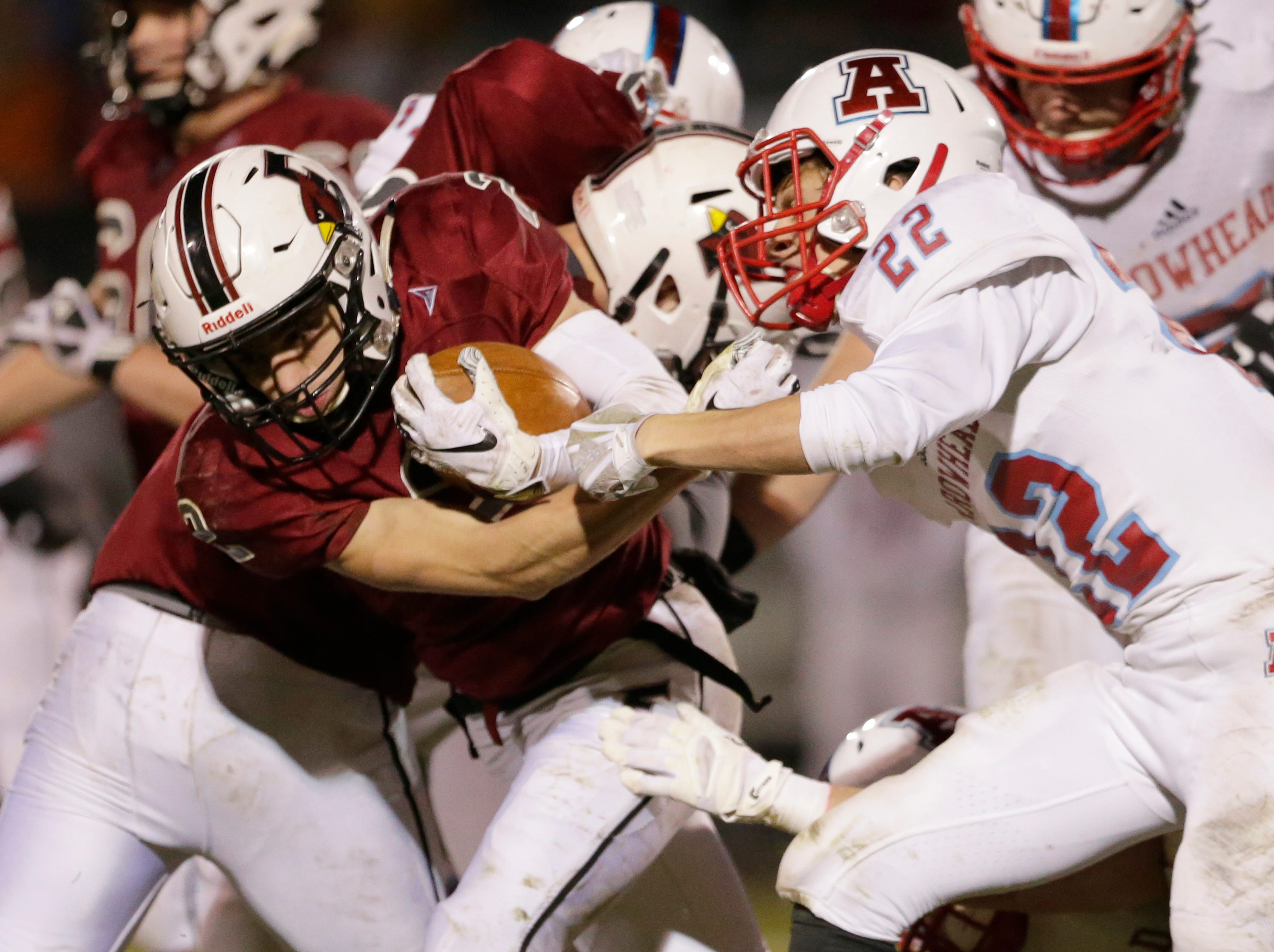 Fond du Lac's Eben Sauer runs the ball during their game.  Fond du Lac Cardinals played Arrowhead Warhawks in WIAA football playoff sectionals, Friday, Oct. 26, 2018, at Fruth Field in Fond du Lac.  Fond du Lac won 28 - 22.Joe Sienkiewicz/USA Today NETWORK-Wisconsin