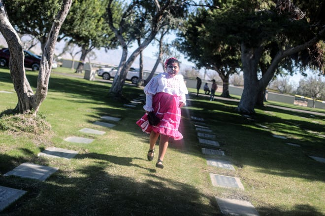 A Folklorico dancer at Cathedral City's annual Dia de los Muertos celebration at Desert Memorial Park cemetery on Saturday, October 27, 2018.