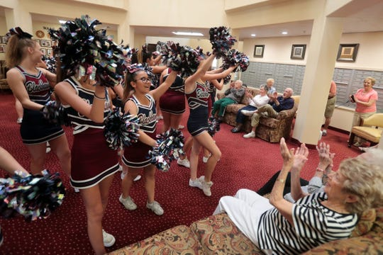 Members of the La Quinta cheer-squad and football team held a pep rally for the seniors at The Palms at La Quinta Independent Living Facility on Thursday, October 25, 2018 in La Quinta. The senior were also invited to the La Quinta Xavier Prep football game on Friday.