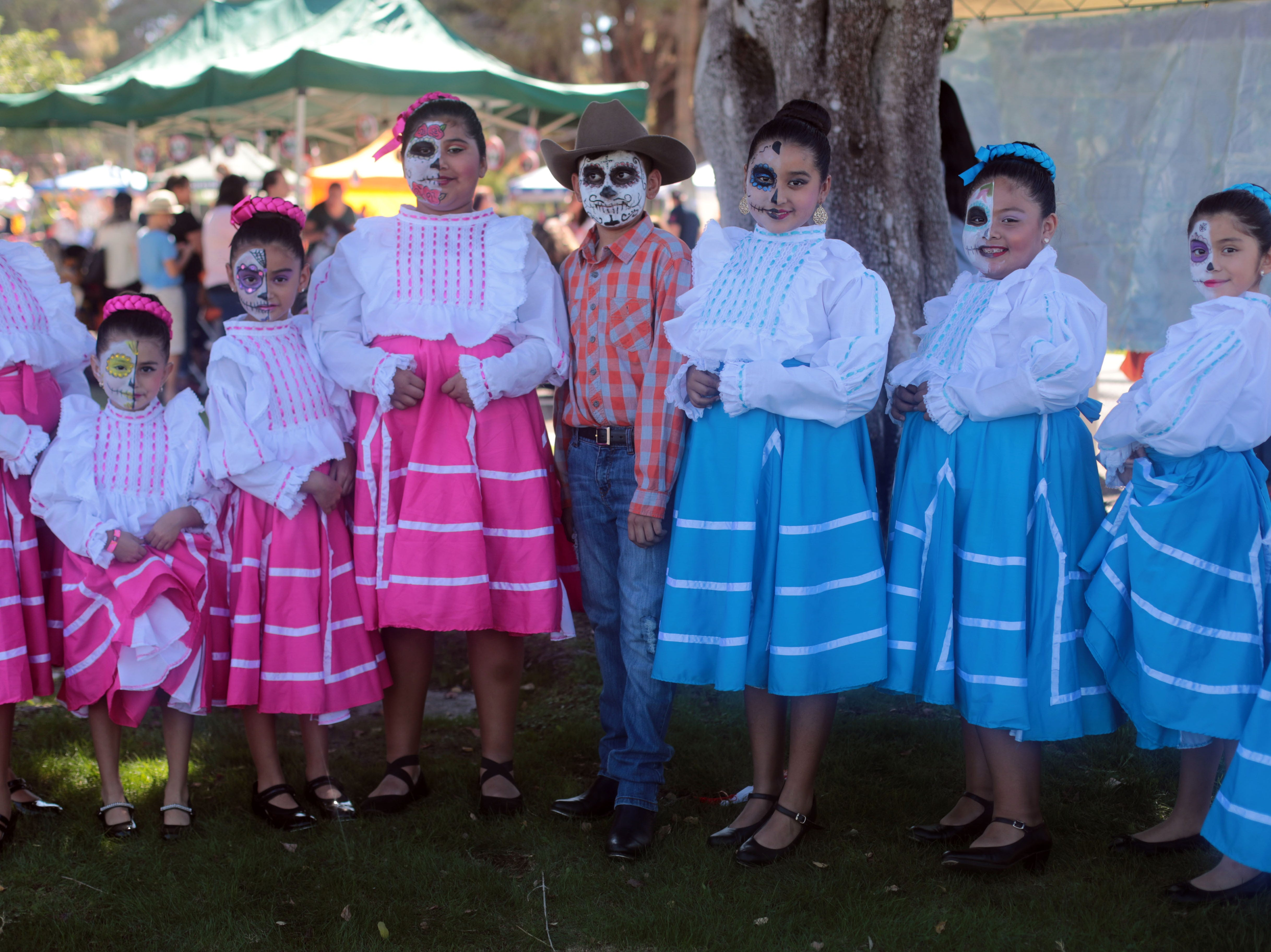 Folklorico dancers from Cathedral City at Cathedral City's annual Dia de los Muertos celebration at Desert Memorial Park cemetery on Saturday, October 27, 2018.