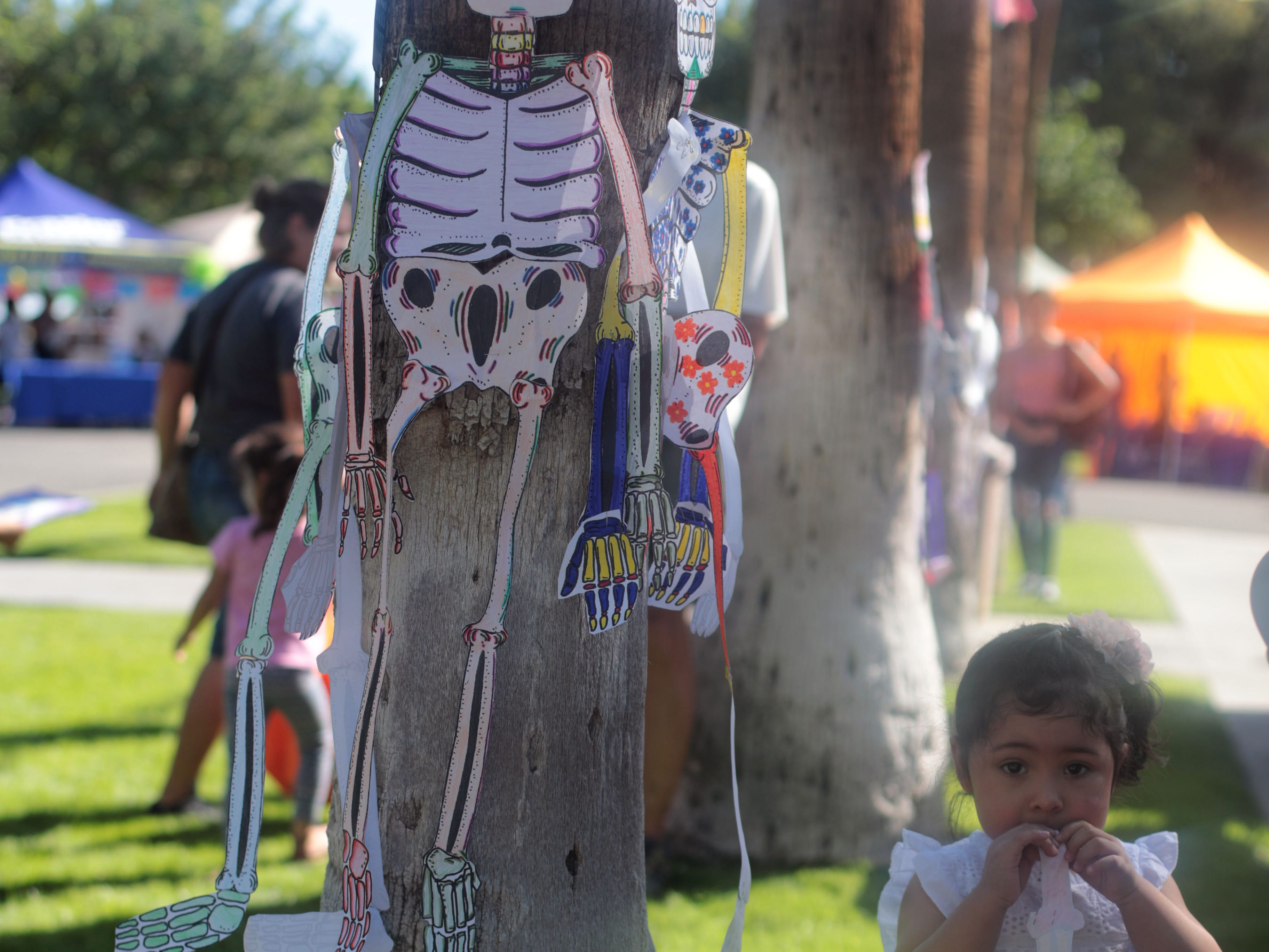 A child tries to eat a bone off a paper skeleton at Cathedral City's annual Dia de los Muertos celebration at Desert Memorial Park cemetery on Saturday, October 27, 2018.