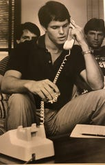Former Tate standout Jay Bell talks with Minnesota Twins executives shortly after being drafted in 1984. Bell's debut as manager with the newly-created Huntsville Trash Pandas has been delayed by COVID-19.