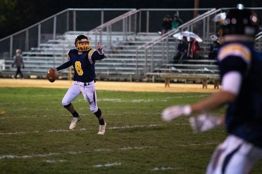 Littlestown's Jakob Lane (8) prepares for a pass during a game between Littlestown and Fairfield, Friday, Oct. 26, 2018, in Littlestown.