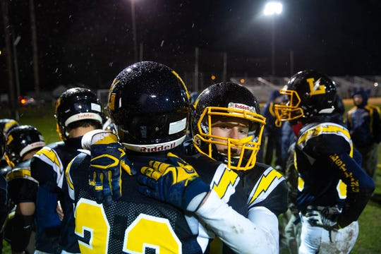 The Littlestown Bolts celebrate after winning a game against Fairfield, Friday, Oct. 26, 2018, at Littlestown's Memorial Stadium. The Littlestown Bolts defeated the Fairfield Knights 47-0.