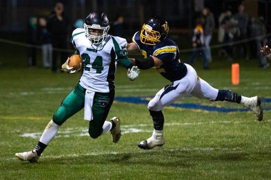 Fairfield's Garrett Stadler (24) runs the ball against the Littlestown defense during a game, Friday, Oct. 26, 2018, in Littlestown.