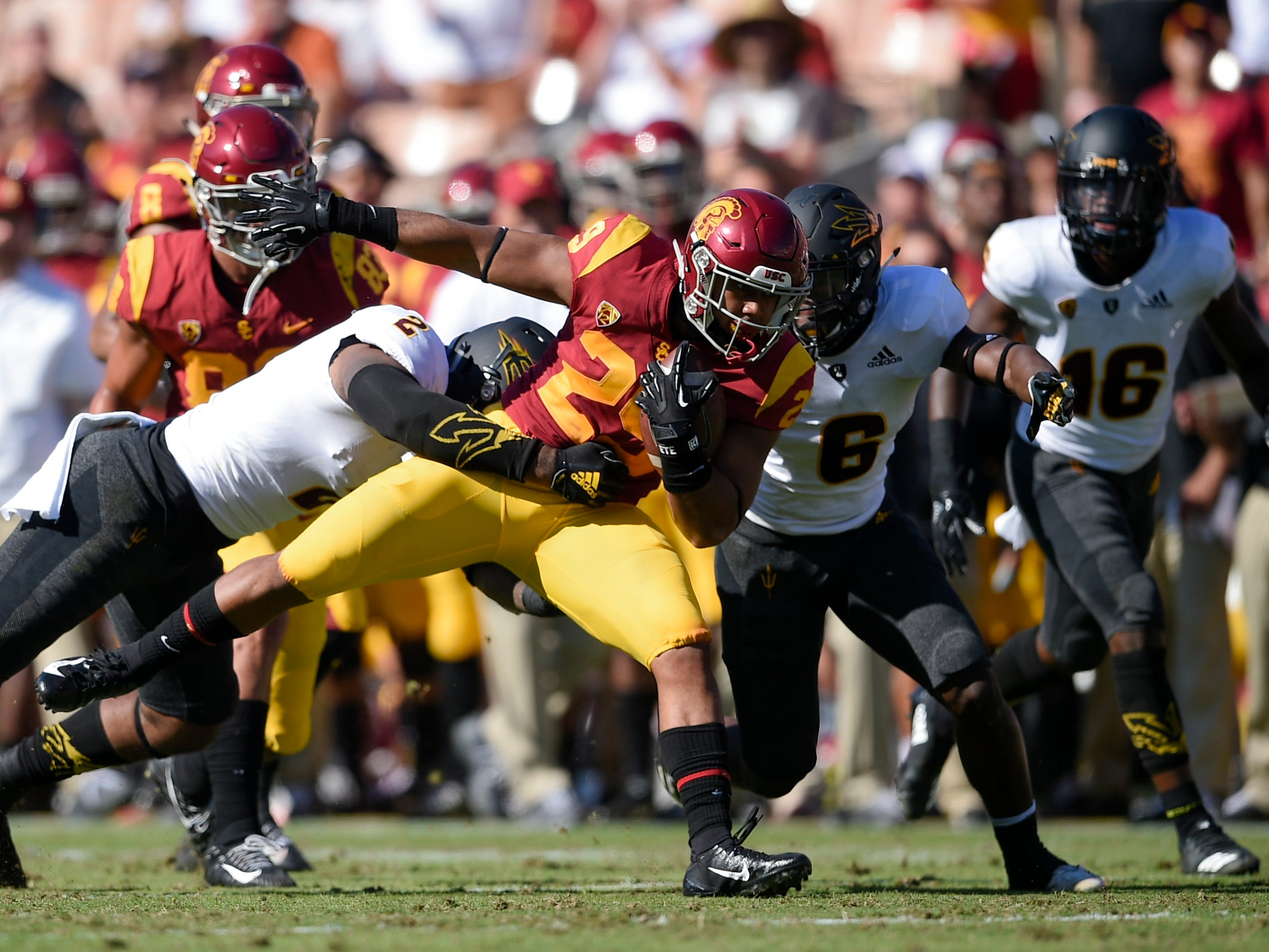 Oct 27, 2018; Los Angeles, CA, USA; Southern California Trojans running back Vavae Malepeai (29) runs the ball during the first half against the Arizona State Sun Devils at Los Angeles Memorial Coliseum. Mandatory Credit: Kelvin Kuo-USA TODAY Sports