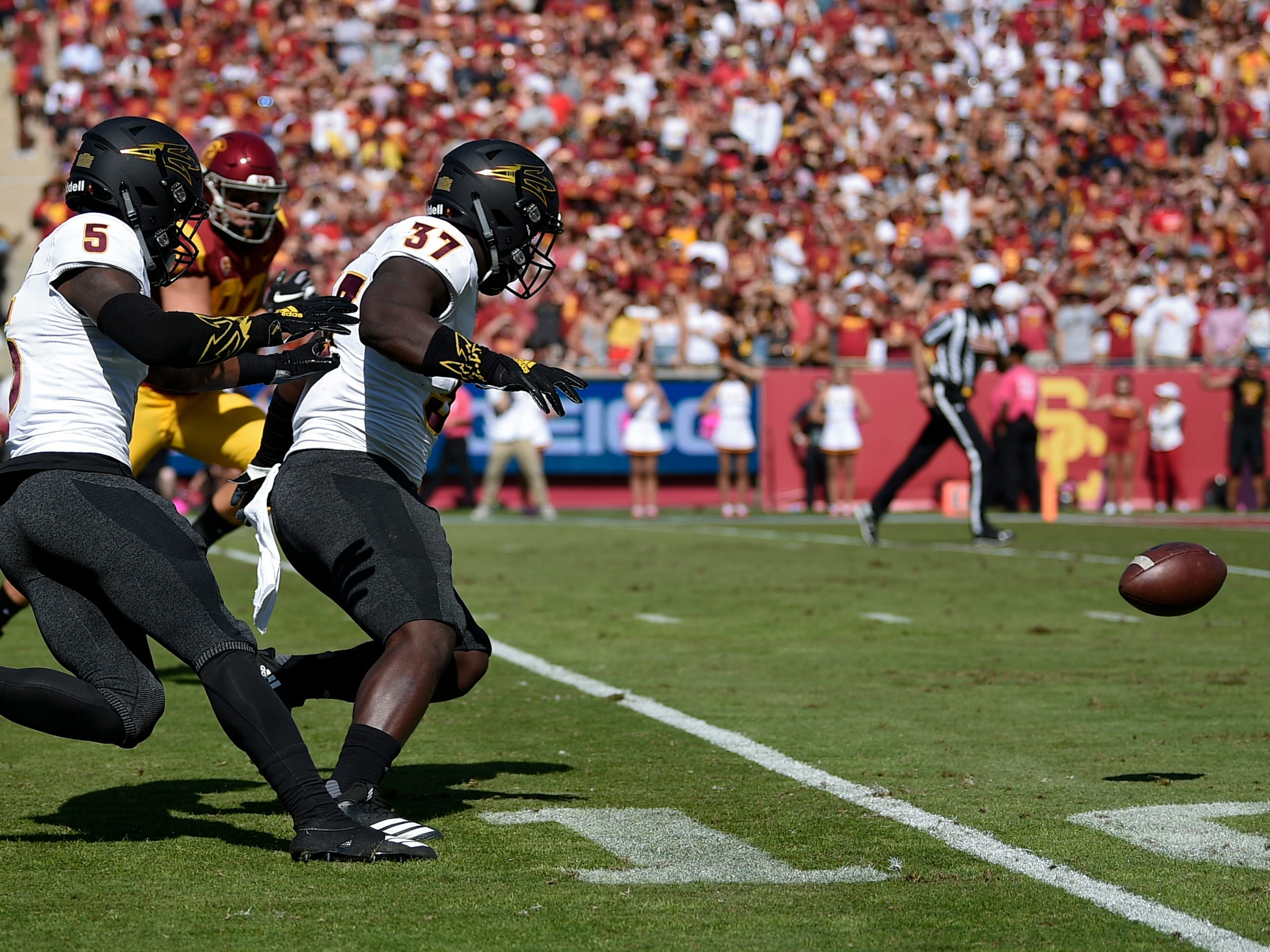 Oct 27, 2018; Los Angeles, CA, USA; Arizona State Sun Devils linebacker Darien Butler (37) chases down a ball after a fumble during the first half against the Southern California Trojans at Los Angeles Memorial Coliseum. Mandatory Credit: Kelvin Kuo-USA TODAY Sports