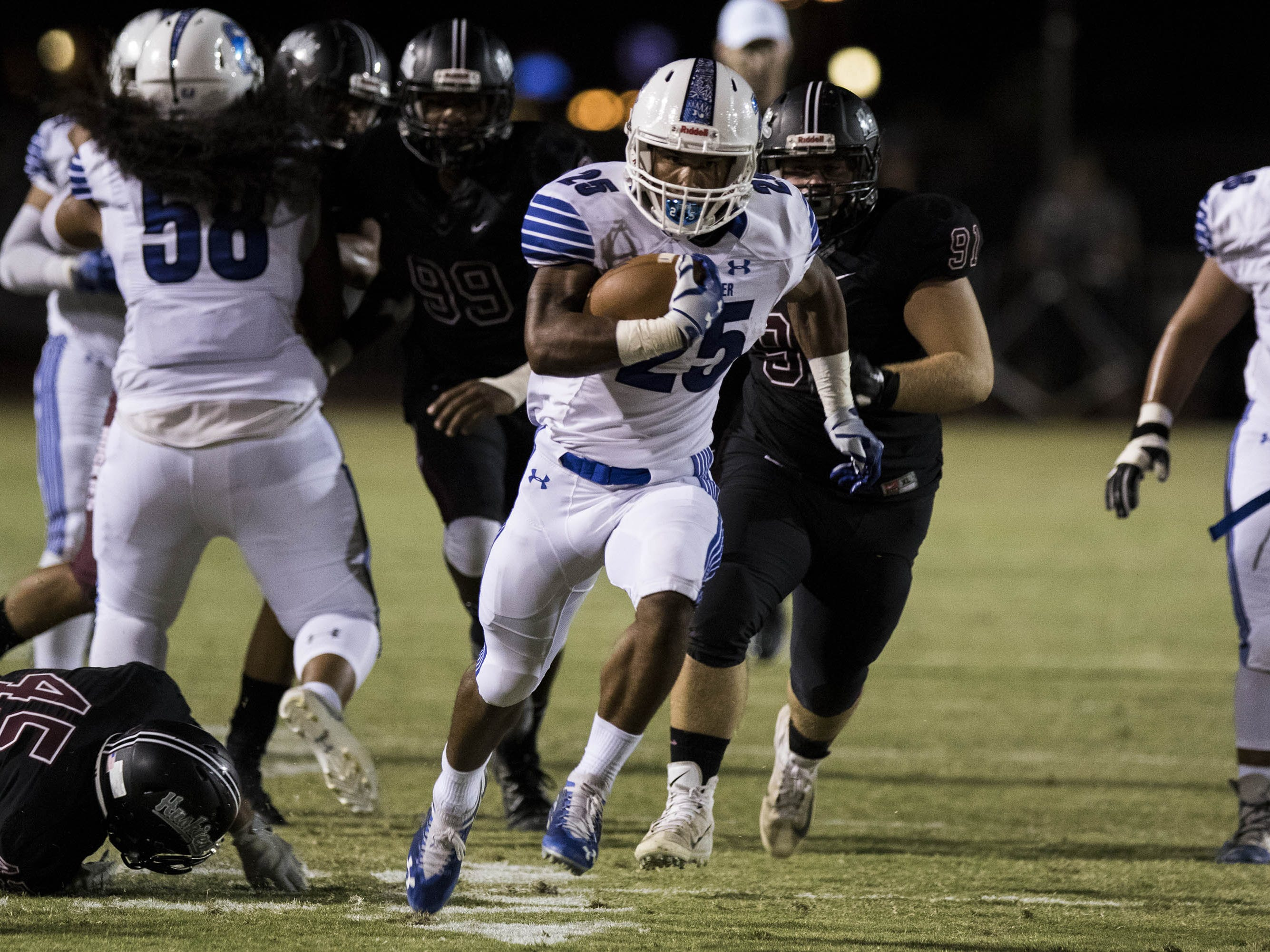 Chandler's Decarlos Brooks finds running room against Hamilton's during their game in Chandler, Friday, Oct. 26, 2018. #azhsfb