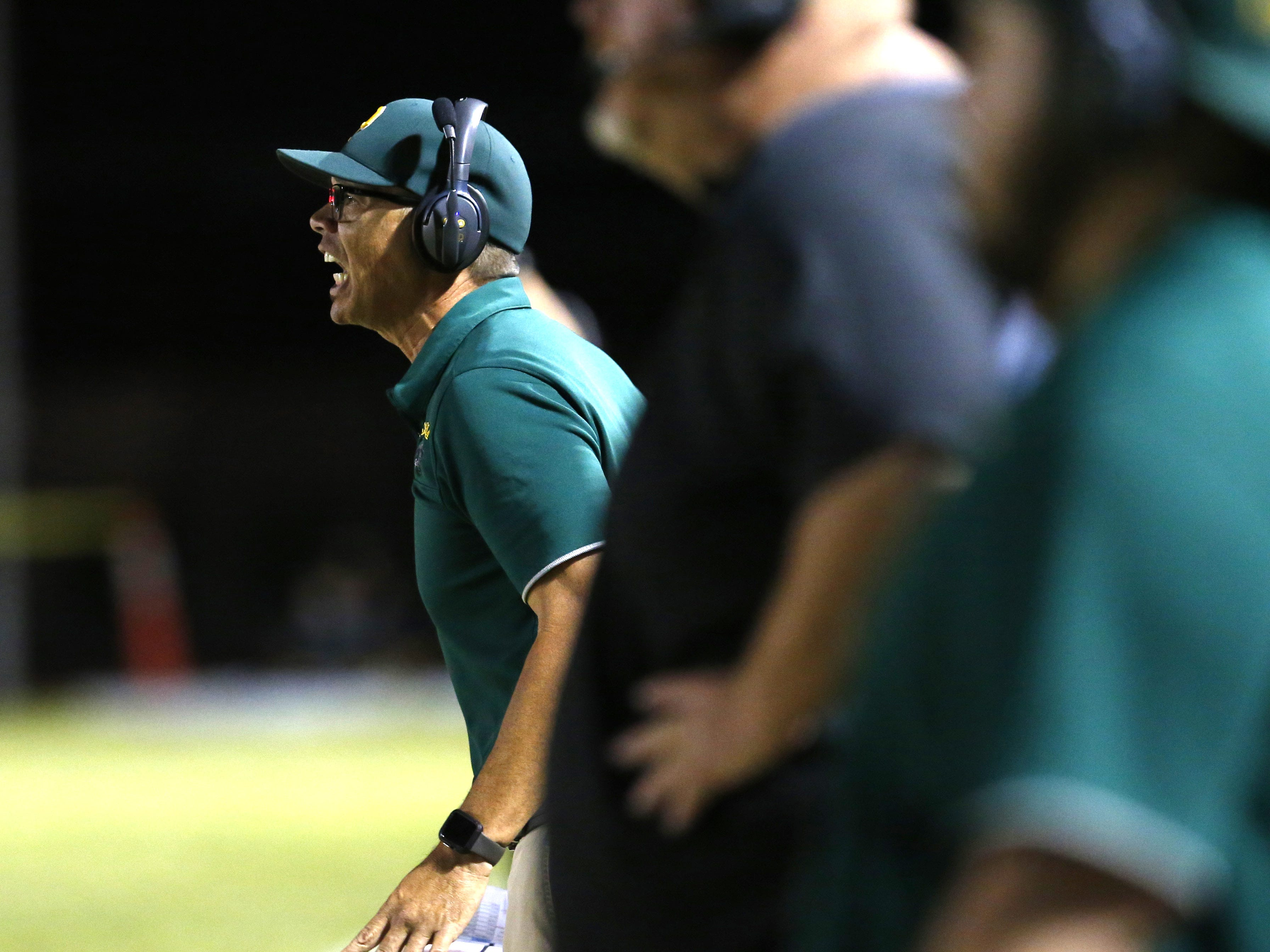 Peoria head coach Will Babb yells at his team during a football game against the Cactus at Peoria High on October 26. #azhsfb