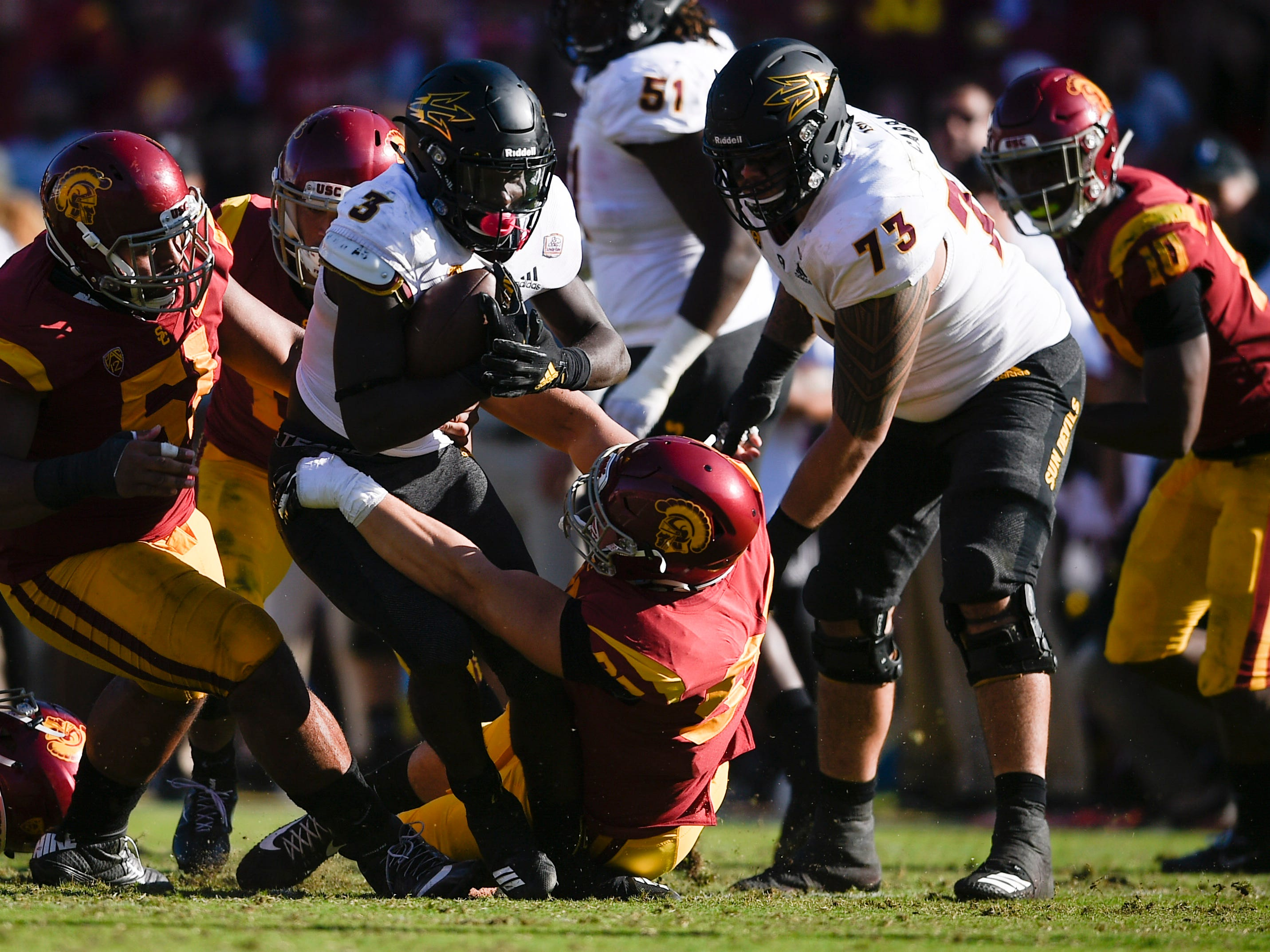 Oct 27, 2018; Los Angeles, CA, USA; Arizona State Sun Devils running back Eno Benjamin (3) runs the ball during the second half against the Arizona State Sun Devils at Los Angeles Memorial Coliseum. Mandatory Credit: Kelvin Kuo-USA TODAY Sports
