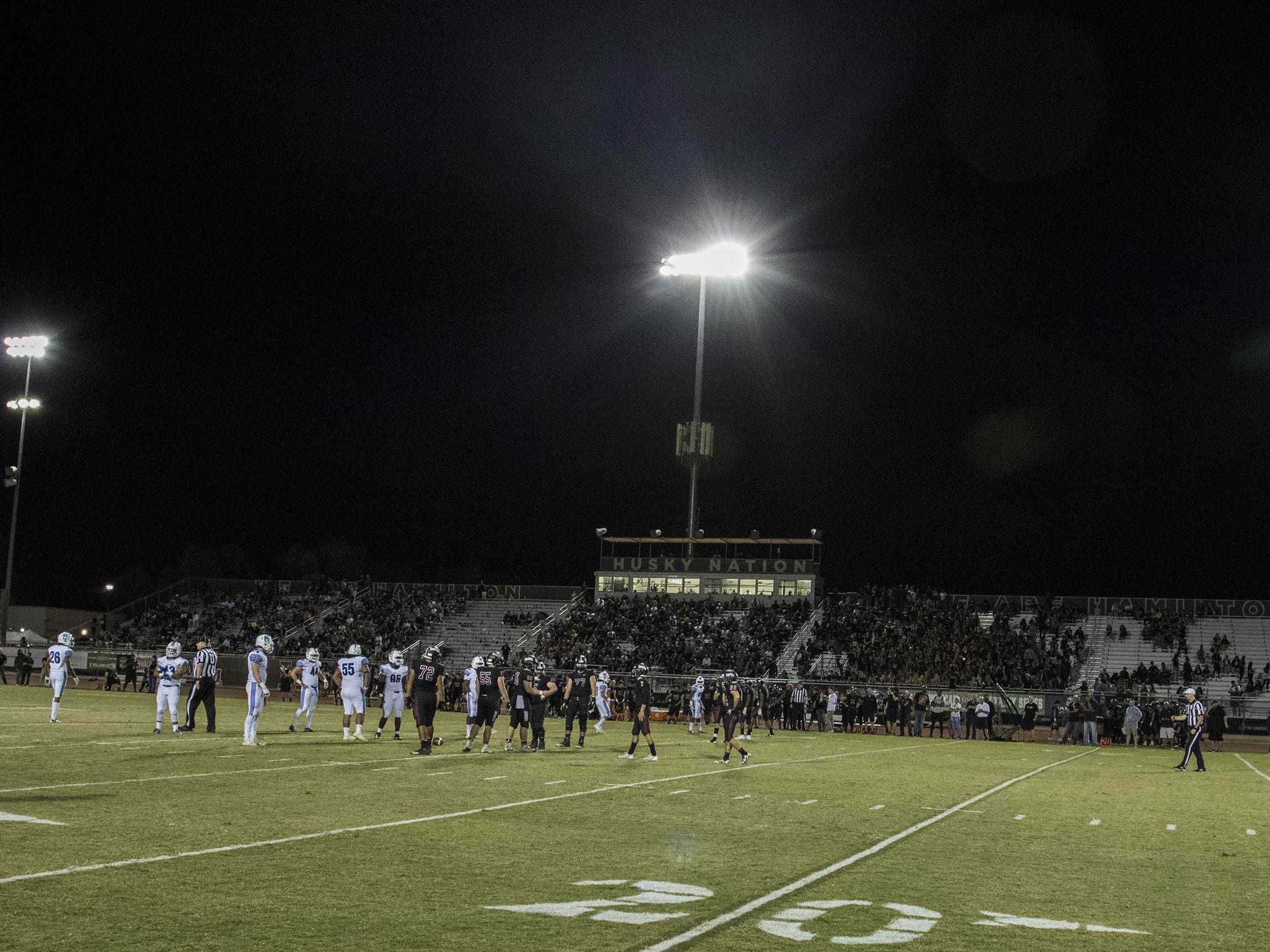 An unusual site, a lot of empty seats in the Hamilton bleachers for their crosstown game with the Chandler Wolves in Chandler, Friday, Oct. 26, 2018. #azhsfb