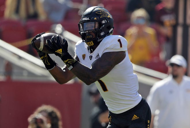 Arizona State wide receiver N'Keal Harry makes a touchdown catch against Southern California during the first half of an NCAA college football game Saturday, Oct. 27, 2018, in Los Angeles.