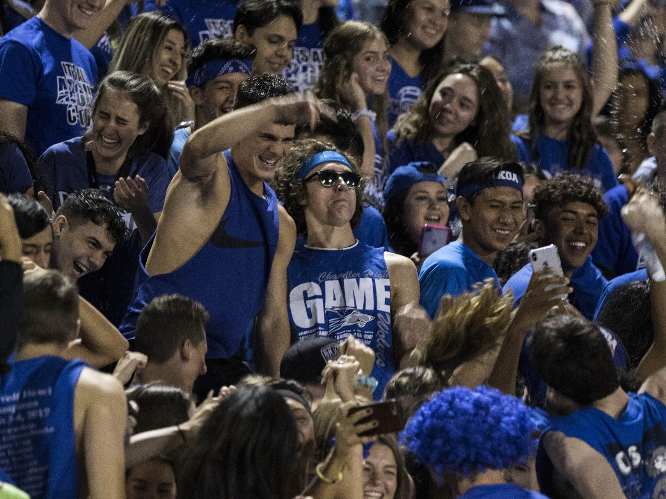 Chandler High School students have fun as their team plays against crosstown rivals the Hamilton Huskies in Chandler, Friday, Oct. 26, 2018. #azhsfb