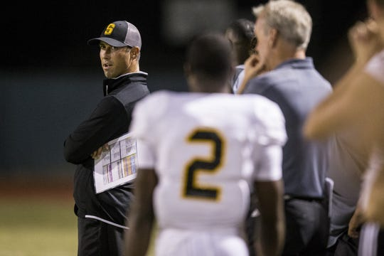 Saguaro head coach Jason Mohns watches the game against Mesquite in the second half on Friday, Oct. 26, 2018, at Mesquite High School in Gilbert, Ariz.  #azhsb
