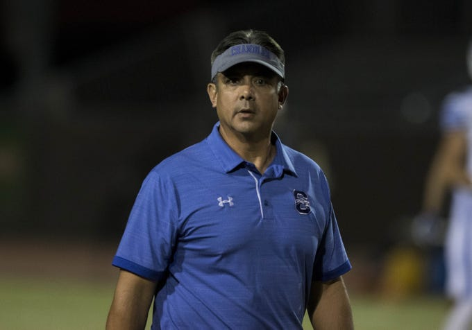 Chandler head coach Shaun Aguano during his game against Hamilton, Friday, Oct. 26, 2018. #azhsfb