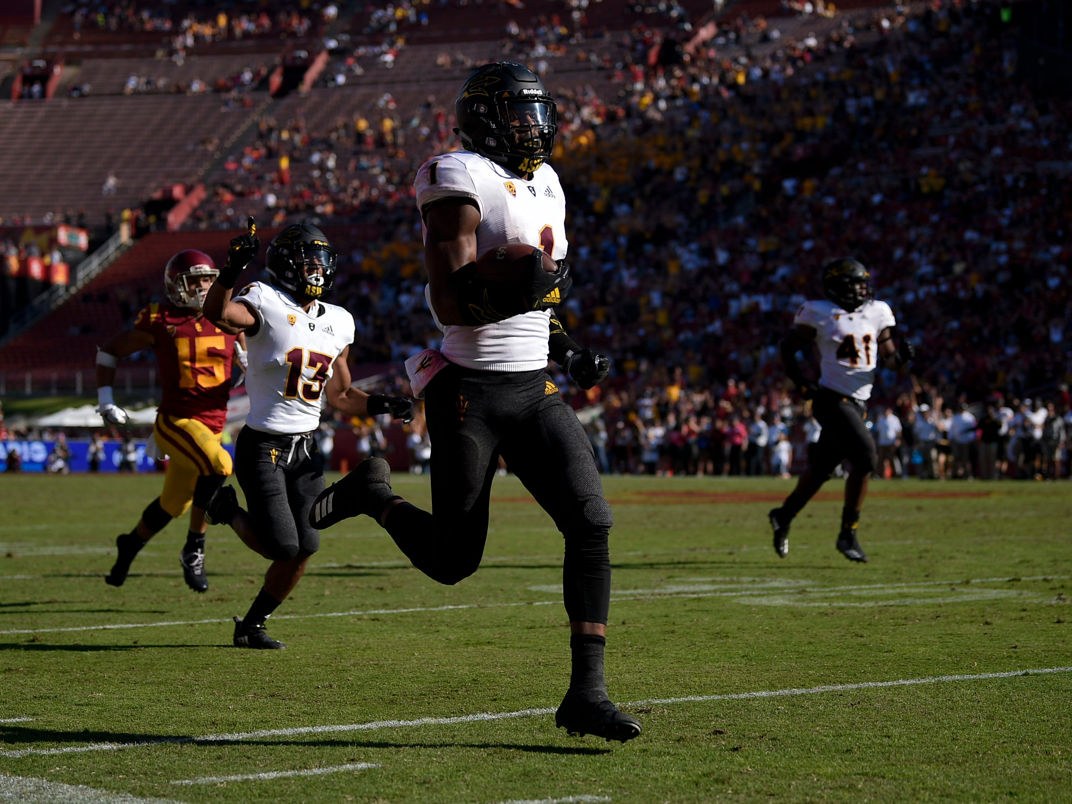 Oct 27, 2018; Los Angeles, CA, USA; Arizona State Sun Devils wide receiver N'Keal Harry (1) runs a punt return for a touchdown during the second half against the Southern California Trojans at Los Angeles Memorial Coliseum. Mandatory Credit: Kelvin Kuo-USA TODAY Sports