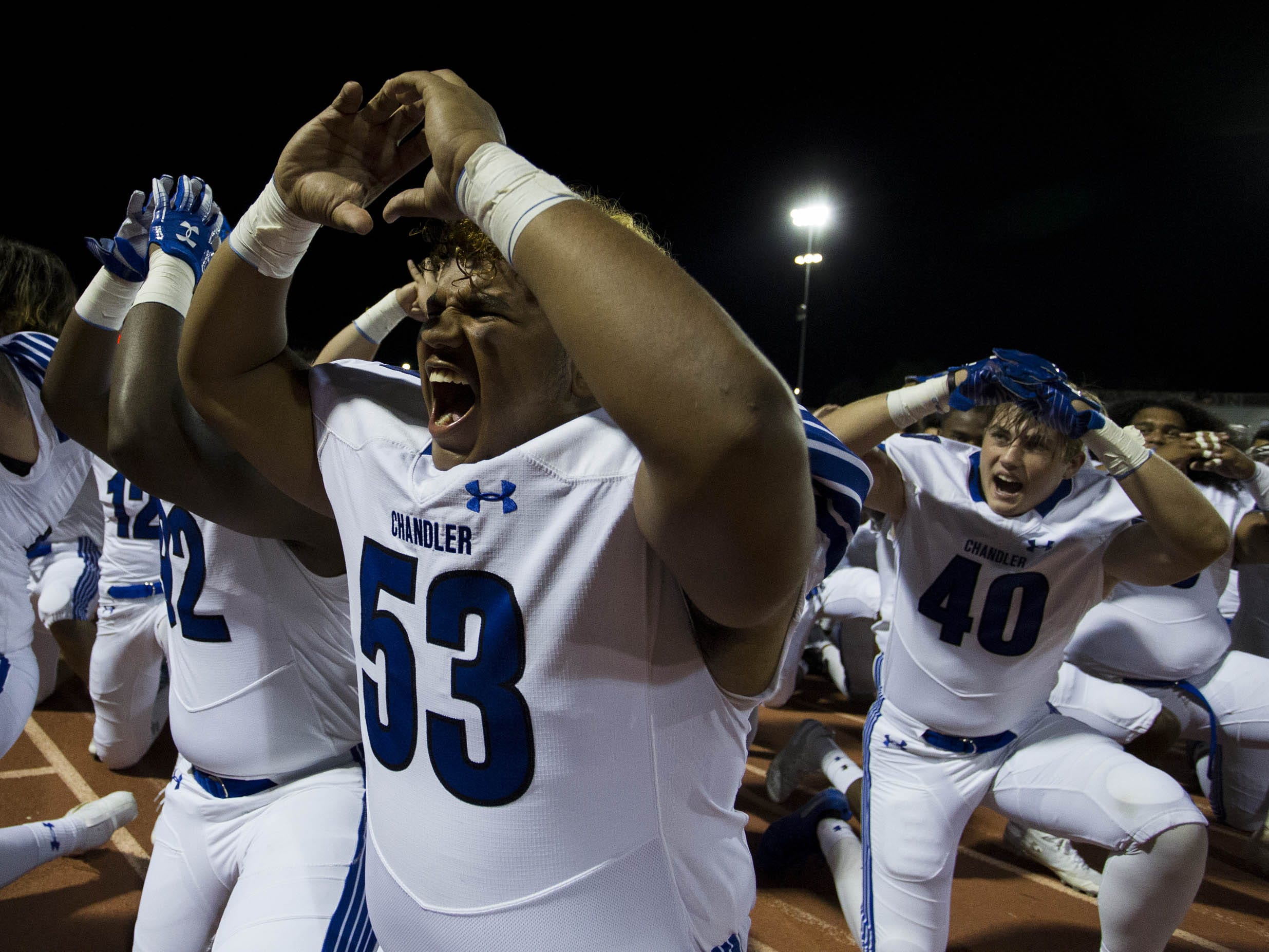 Chandler High players do the Haka before their game against crosstown rivals the Hamilton Huskies in Chandler, Friday, Oct. 26, 2018. #azhsfb